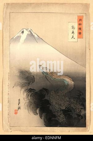 Ryu shoten, Dragon rising to the heavens., Ogata, Gekko, 1859-1920, artist, 1897., 1 print : woodcut, color - Stock Photo