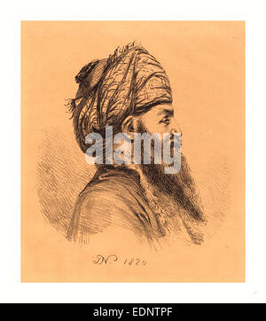Baron Dominique Vivant Denon (French, 1747  1825 ), Profile Head of Oriental in Turban, 1820, lithograph - Stock Photo