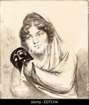 Baron Dominique Vivant Denon (French, 1747 - 1825), Girl with a Mask, 1820, lithograph - Stock Photo