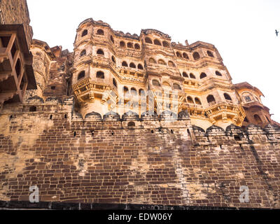 Mehrangarh Fort and Palace in Jodhpur, Rajasthan, India - Stock Photo