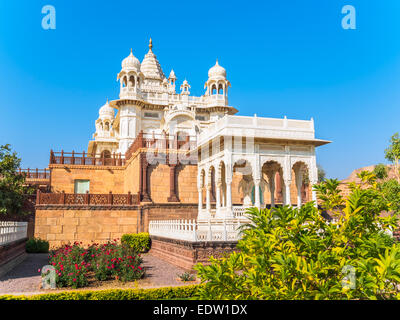 White Marble Cenotaph in Jodhpur, Rajasthan, India - Stock Photo