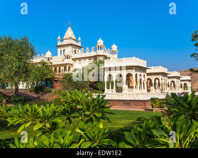 White Marble Memorial in Jodhpur, Rajasthan, India - Stock Photo