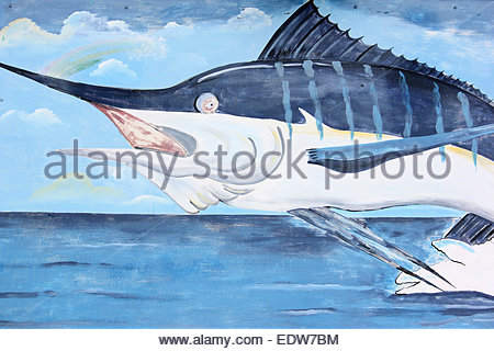 Blue Marlin Artwork On The Rainbow Bar And Grill On Caye Caulker, Belize - Stock Photo