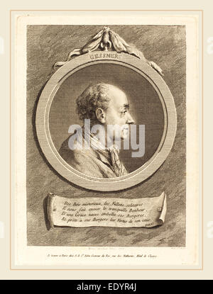Augustin de Saint-Aubin after Baron Dominique Vivant Denon, French (1736-1807), Salomon Gessner, 1775, engraving - Stock Photo