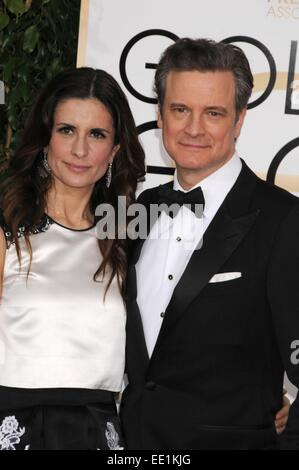 Los Angeles, CA, USA. 11th Jan, 2015. Jan 11, 2015 - Los Angeles, CA, United States - Actor COLIN FIRTH, wife at - Stockfoto