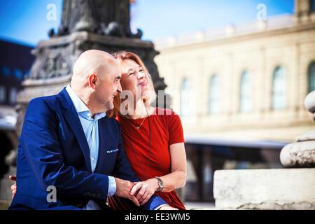 Portrait of happy senior couple outdoors, Munich, Bavaria, Germany - Stock Photo