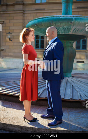 Senior couple falling in love, Munich, Bavaria, Germany - Stock Photo