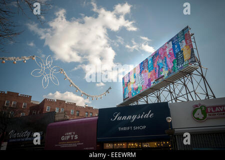 New York, USA. 16th Jan, 2015. The 'Keep Calm Billboard' in Sunnyside, Queens in New York is seen on Friday, January - Stock Photo