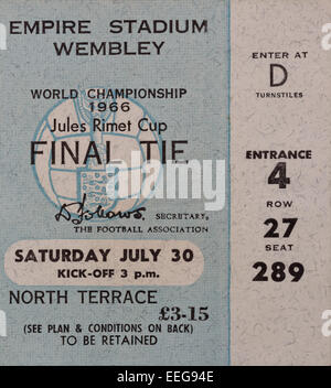 World Cup Final 1966 England v West Germany ticket for the Jules Rimet Cup. - Stock Photo