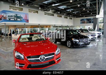 Mercedes benz cars at cars dealership showroom stock photo for Mercedes benz dealer san jose