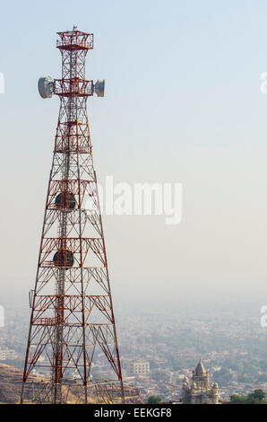 Elevated view of Jodhpur city, with a large pylon in the foreground and a blue sky background, in the state of Rajasthan, - Stock Photo