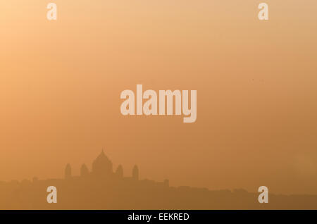 View of Jodhpur cityscape at sunrise horizon, with the Umaid Bhawan Palace, in the distance. State of Rajasthan, - Stock Photo