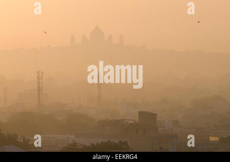 View of Jodhpur cityscape at sunrise, with the Umaid Bhawan Palace, in the distance. State of Rajasthan, Northern - Stock Photo