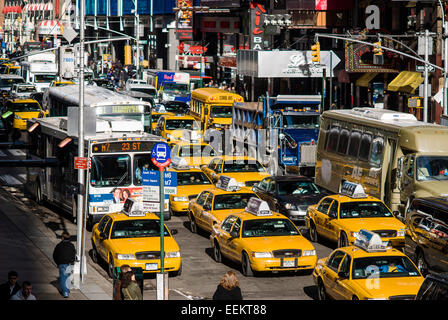 Traffic Jam with Many Vehicles in Times Square, New York City. - Stock Photo