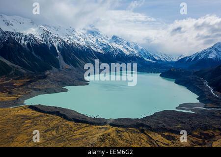 New Zealand, Elevated view of Tasman Glacier - Stock Photo