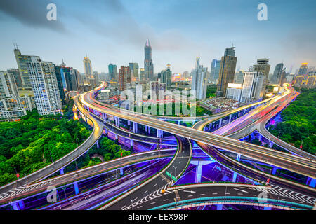Shanghai, China aerial view and skyline over highways. - Stock Photo