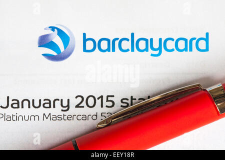 After Christmas spending the Barclaycard January 2015 statement arrives - Stock Photo