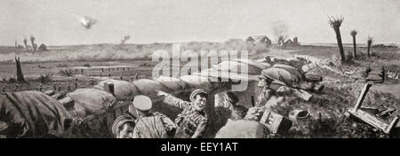 A gas attack on the 2nd Lancashire Fusiliers during The Second Battle of Ypres, West Flanders, Belgium in 1915 during - Stock Photo