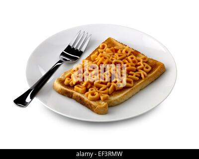 alphabet spaghetti on toast - Stock Photo