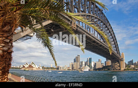 Sydney Harbour Bridge, Sydney Opera House and skyscrapers of the central business district / CBD, New South Wales, - Stock Photo