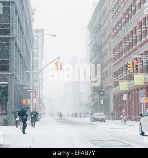 Crowed Soho street .New York, USA. 26th January, 2015. Winter Storm Juno: Blizzard in New York City. Credit:  Kristin - Stock Photo