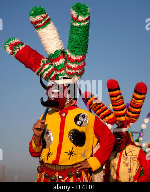 A dancer dressed as Saint James from Chocaman, Veracruz, Mexico. - Stock Photo