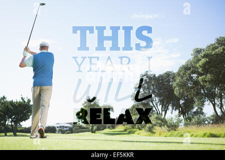 Composite image of golf player taking a shot - Stock Photo