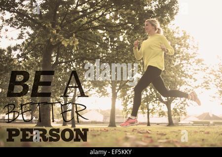 Composite image of active pretty blonde jogging - Stockfoto