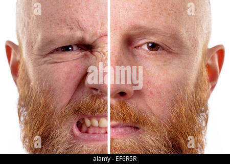 angry and sad face isolated - Stock Photo
