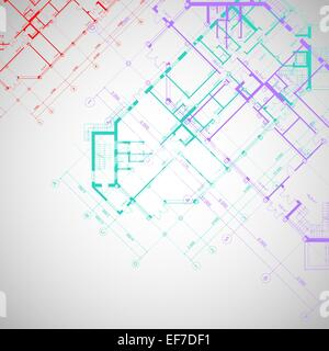 Vector architectural gray background with violet,red and turquoise plans of building - Stock Photo