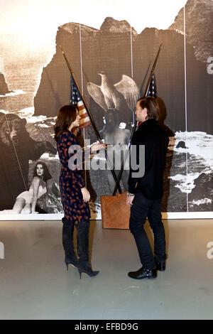 Copenhagen, Denmark. 30th January, 2015. HRH Danish Crown Princess Mary discuss installation art with Mr. Max Snow - Stock Photo