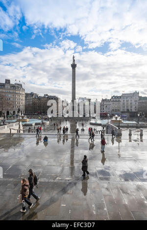 Nelson's Column is a monument in Trafalgar Square in central London - Stock Photo