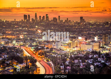 Los Angeles, California, USA downtown skyline at dawn. - Stock Photo