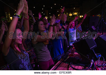 Crowd cheering at music concert - Stock Photo
