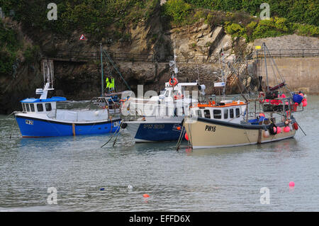 Boats in Newquay harbour Cornwall UK - Stock Photo