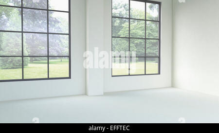 3D rendering of empty room with windows - Stock Photo