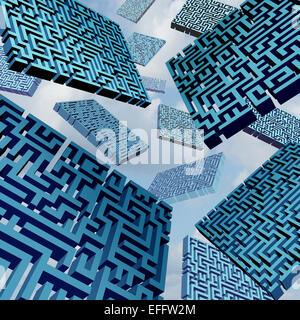 Maze confusion concept as a group of three dimensional labyrinth pieces floating in the sky as a metaphor for confused - Stock Photo