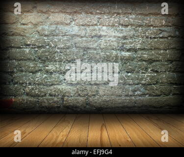 distressed room interior backdrop with old weathered brick wall and spruce wooden tiles on the floor - Stock Photo
