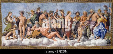 The gods of Olympus by Raphael¡s school - Stock Photo