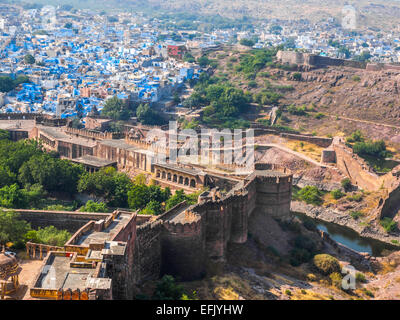 Mehrangarh Fort and The Sun City, Jodhpur, Rajasthan, India - Stock Photo