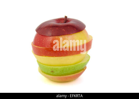 Multicolored apple: red, green and yellow on a white background - Stock Photo