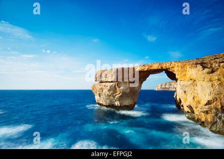 The Azure Window natural arch, Dwerja Bay, Gozo Island, Malta, Mediterranean, Europe - Stock Photo