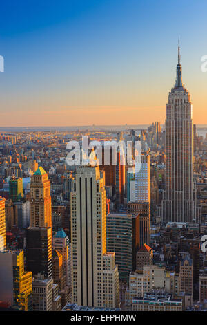 Manhattan view at sunset from Top of the Rock at Rockefeller Plaza. - Stock Photo