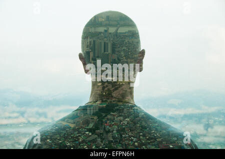 Mature man and city, double exposure. - Stock Photo