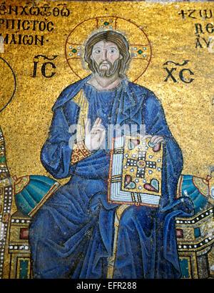 Mosaic in Hagia Sophia interior, Istanbul, Turkey - Stock Photo