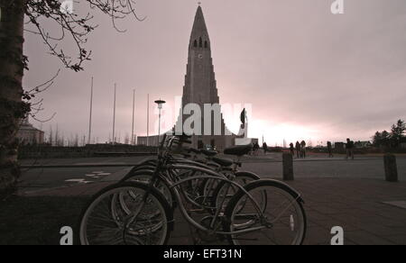 The iconic Hallgrimskirkja at dusk, Reykjavik, Iceland - Stock Photo