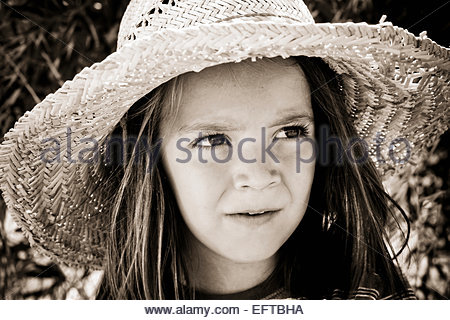 Five Year Old Toddler Boy Child Age 5 Years Portrait Headshot Head And Shoulders Face Portrait Wearing Hat MR - Stock Photo