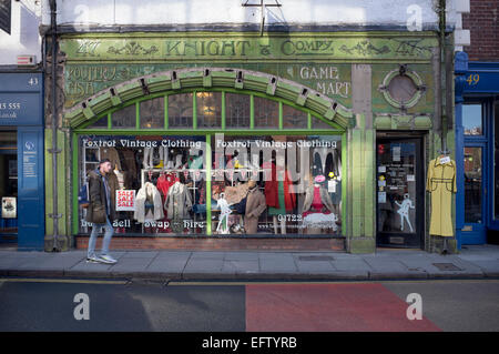 facade of a vintage clothing store in the mile end