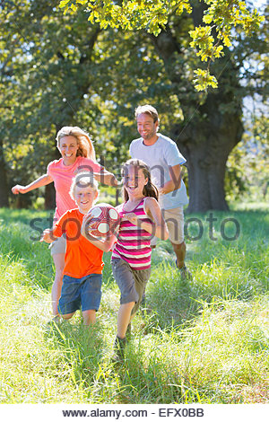 Family, playing with ball, in treelined field - Stockfoto