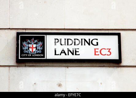 London Street sign for Pudding Lane, where the Great Fire of London started in 1666 - Stock Photo